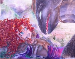 Merida meets Toothless by ARSugarPie