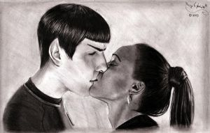 Spock and Uhura Kissing by BridgeToNeverland