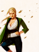 Tsunade - Falling Leaves by mollygrue