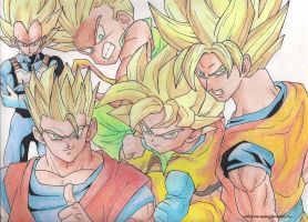 The Five Super Saiyans by markkevinmanding