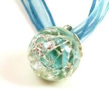 Aqua Catseye Fried Marble Necklace by annjepsen