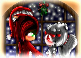 DarkfirexJessie under the mistletoe by Kathy-the-echidna