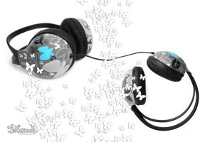 butterflies headphones by Bobsmade