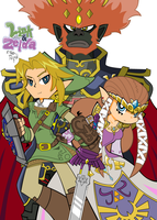Link and Zelda with Ganondorf by AmostheArtman
