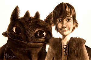 Toothless and Hiccup Watercolor Portrait by masterrohan