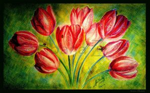 Tulips and  Lady birds by LilDevilAriel