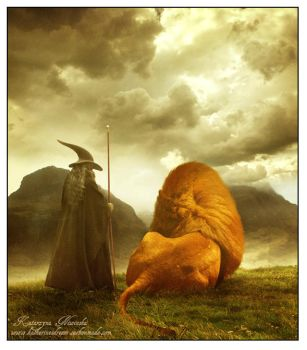 Gandalf and Aslan by FuzzyBuzzy