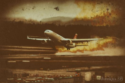 Plane on Fire by Atroksia-Photography