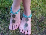 Macrame Barefoot Sandal Anklet with Howlite beads by noisypixie