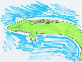 Lime Green Blue Whale by ClineVanMark
