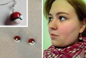 Poke Ball Earrings by Xx-tangerine-xX