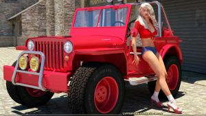 Red Jeep and driver by Lynxander