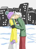 Soul and Maka in the Snow by SeishinOkami