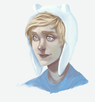 coloring practice featuring Finn the Human by mayday-daywalker