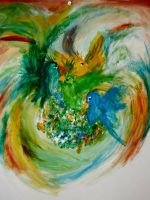 Bird finger paint by chobo-ling