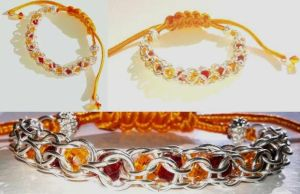 Sweet Orange Inverted Round Chainmaille Bracelet by TotenKuss