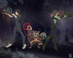 Ellen Ripley x Rocket Raccoon x Gamora by jackcrowder