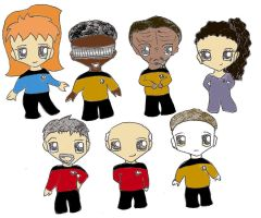 Star Trek: TNG chibis colour by singingpterodactyl