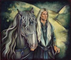 Haldir with Horse by ebe-kastein