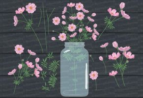 Cosmos flowers clipart by BouncyBulldog