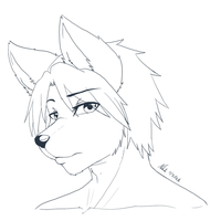 -Line Art- Wolf Guy by Nukude