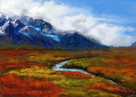 tundra mountains by Ondinel