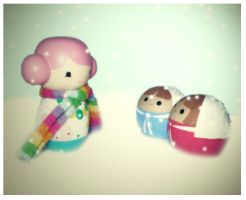 Pinku and the snow children. by LAUBoZ