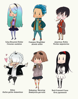 Bird chibi personifications by kimitama