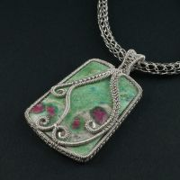 Ruby in Fuschite and Sterling Silver Necklace by sylva