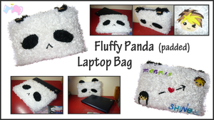 Fluffy Panda Laptop Bag by mashimaroROCKS