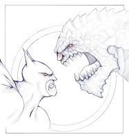 Killer Croc VS Batman WIP by pxpxp