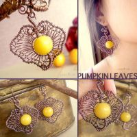 Pumpkin Leaf Earrings by popnicute