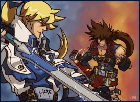 Guilty Gear - Ky Kiske and Sol Badguy by BrokenNoah