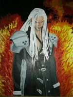 Sephiroth in fire WIP 5 by bluedragoneye