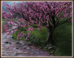 Cherry Blossom Stream by Laserbot