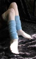 white lace,blue angora warmers by missrex