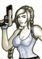 Sketch Card - Lara Croft by Indy-Lytle