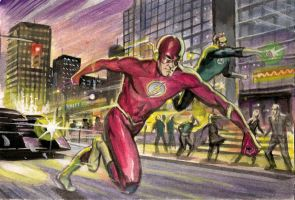 Flash and Green Lantern Colour Rough by Habjan81