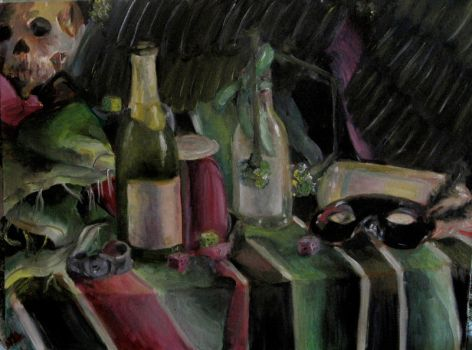 Study in black pink and green by Kunsthaus