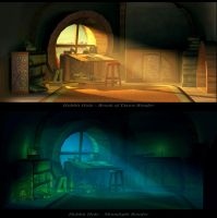 Hobbit Hole Night and Day by JackEavesArt