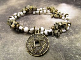 Dalmatian Jasper and Coin Charm Bracelet by FantasyAlley