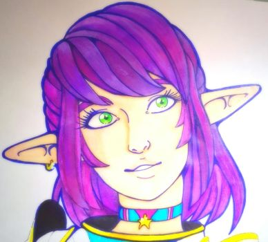 Armoured Elf Girl coloured by TheBeakerz