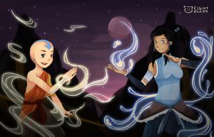 Aang vs Korra by eight-bears
