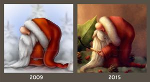 Little Santa 2009 vs 2015 by Ploopie
