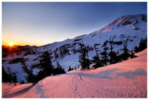 Winter Sunset on Rainier Redux by Raymaker