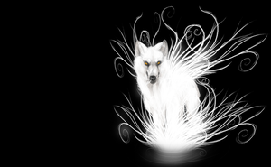 Glowing Wolf - wallpaper by Hukkahurja