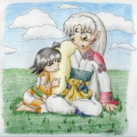 Sesshomaru and Rin by mmmcheezy