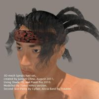 Spiral Hair Set 3D Mesh b by ibr-remote