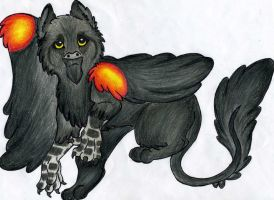 Red Winged/ Panther Gryphon by LyricAndMemories