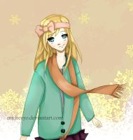 Peach Snowflakes by micheeyo